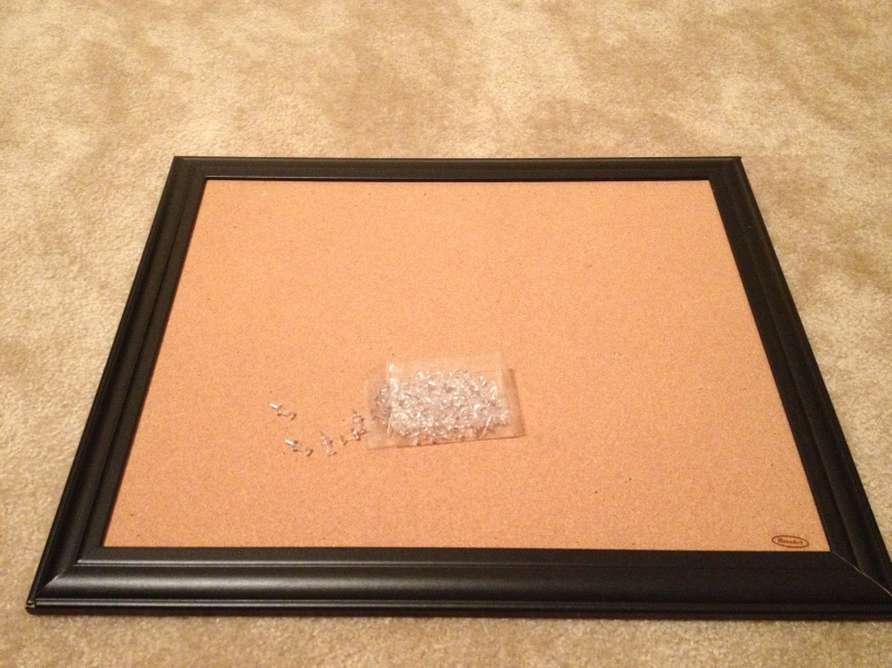 This cork board is by RoseArt. I got it at TARGET! You can use any size/color/style of cork board you want. Get creative and coordinate it with your decor.